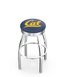 Cal Golden Bears Ribbed Chrome Swivel Bar Stool