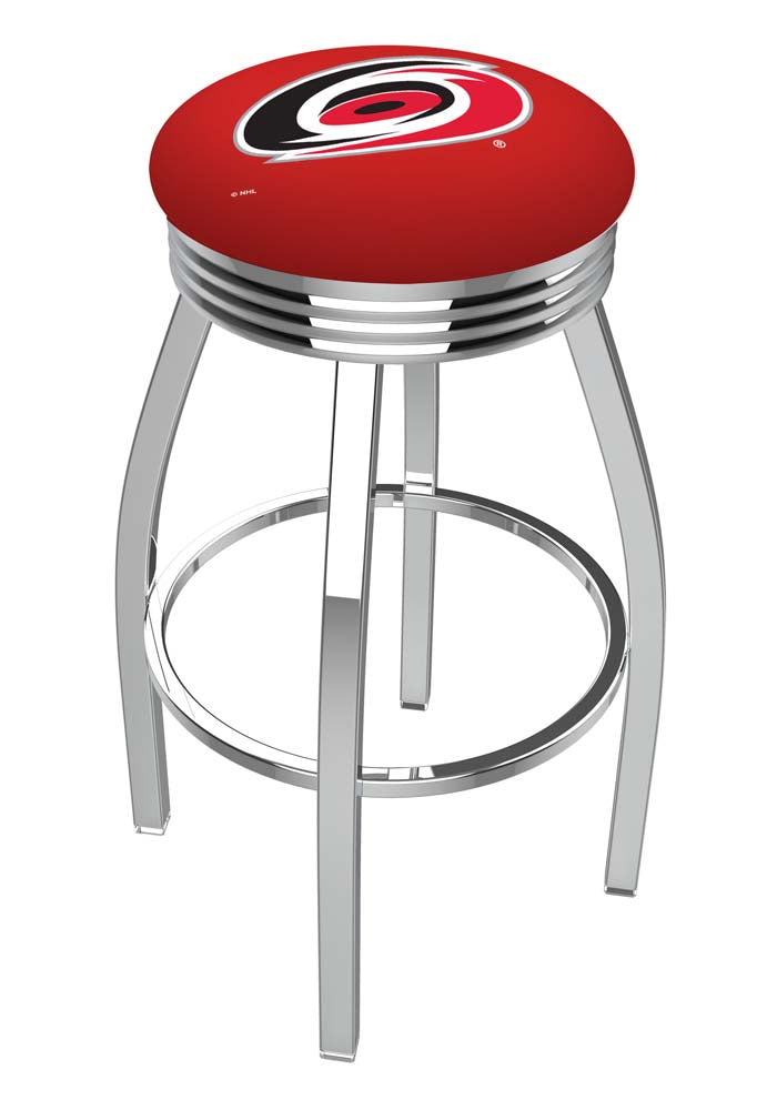 Carolina Hurricanes Ribbed Chrome Swivel Bar Stool