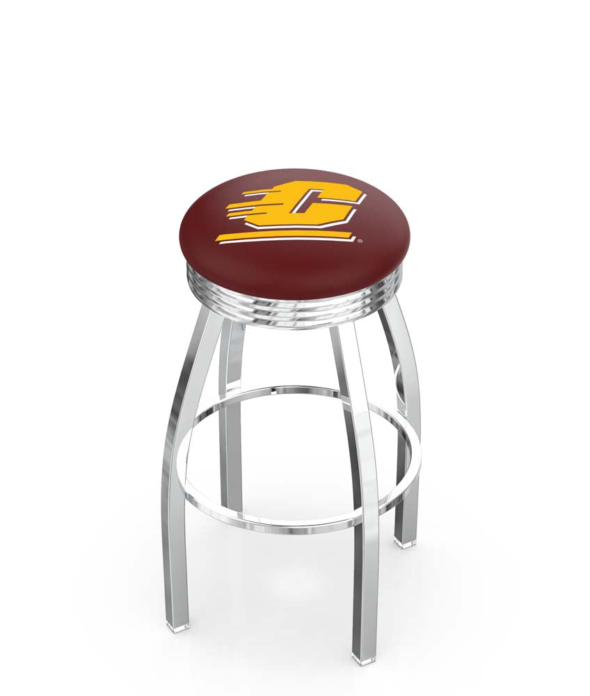 Central Michigan Chippewas Ribbed Chrome Swivel Bar Stool