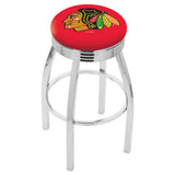 Chicago Blackhawks Ribbed Chrome Red Seat Swivel Bar Stool