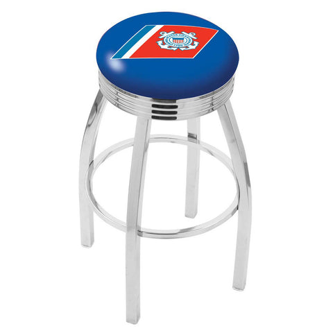Coast Guard Bears Ribbed Chrome Swivel Bar Stool