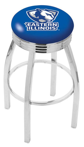Eastern Illinois Panthers Ribbed Chrome Swivel Bar Stool