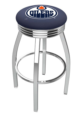 Edmonton Oilers Ribbed Chrome Swivel Bar Stool