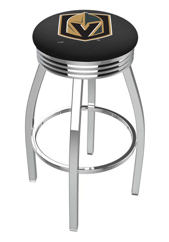 Vegas Golden Knights Ribbed Chrome Swivel Bar Stool