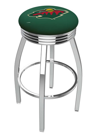 Minnesota Wild Ribbed Chrome Swivel Bar Stool