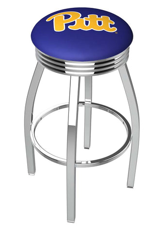Pittsburgh Panthers Ribbed Chrome Swivel Bar Stool