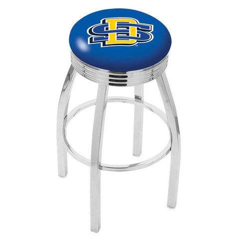 South Dakota State Jackrabbits Ribbed Chrome Swivel Bar Stool