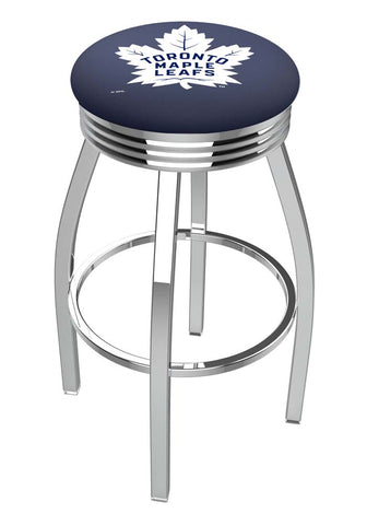 Toronto Maple Leafs Ribbed Chrome Swivel Bar Stool