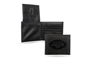 NY Jets Laser Engraved Men's Billfold Wallet in Black