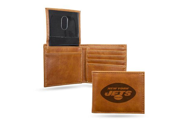 NY Jets Laser Engraved Men's Billfold Wallet in Brown