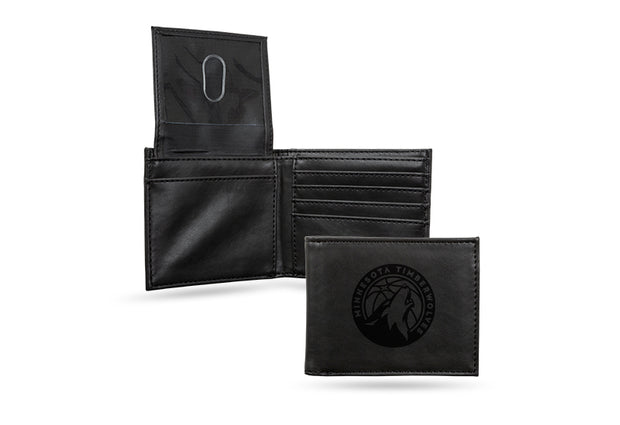 Minnesota Timberwolves Laser Engraved Men's Billfold Wallet in Black