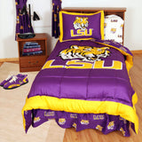 LSU Tigers Bed in a Bag w/ White Team Logo Sheets