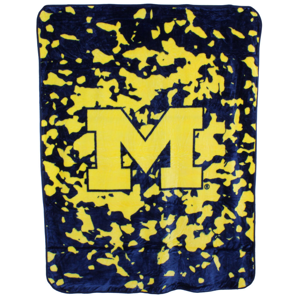 Michigan Wolverines Hi Pile Raschel Knit Blanket