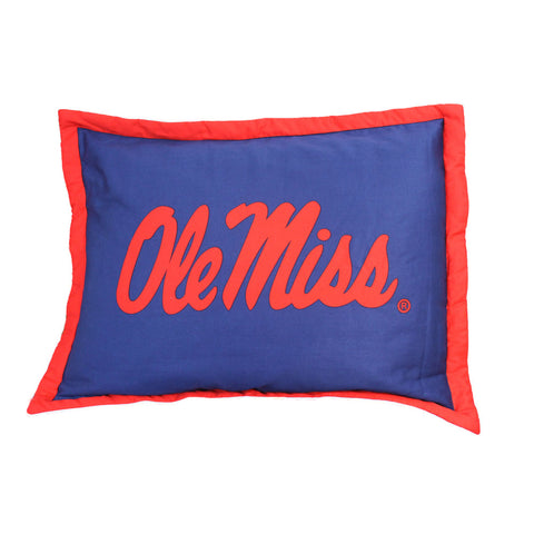 Ole Miss Rebels Team Logo Quilted Pillow Sham