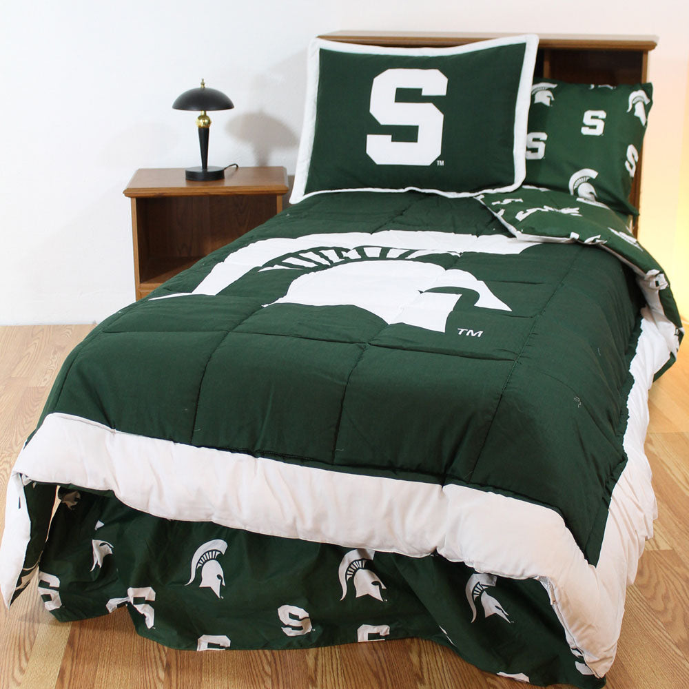 Michigan State Spartans Bed in a Bag w/ Colored Logo Sheets