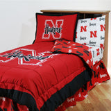 Nebraska Cornhuskers Bed in a Bag w/ White Team Logo Sheets