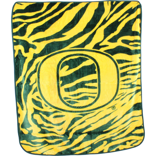 Oregon Ducks Zebra Stripe Raschel Knit Blanket
