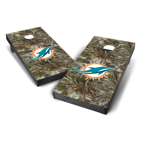 Miami Dolphins 2x4 Realtree Max-1 Camouflage Cornhole with Optional Bluetooth Speakers and LED Lights in Onyx