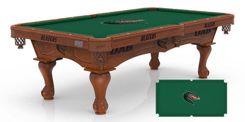 Laser Engraved UAB Blazers Billiard Table with Logo Cloth
