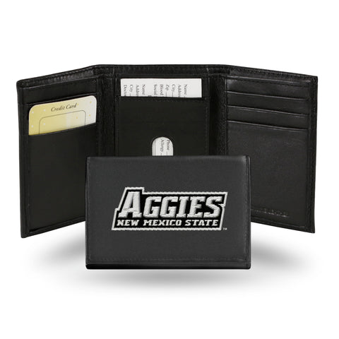 New Mexico State Aggies Black Leather Tri-Fold Men's Wallet