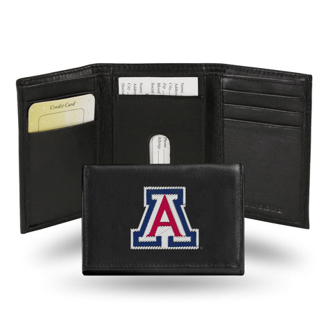 Arizona Wildcats Black Leather Tri-Fold Men's Wallet