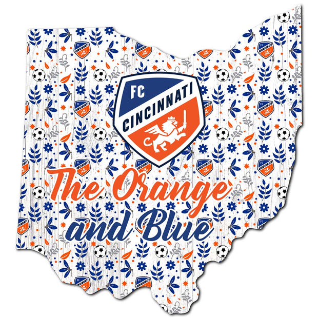 The Orange and Blue Cheer on a Floral State Sign - Team Sports Gift