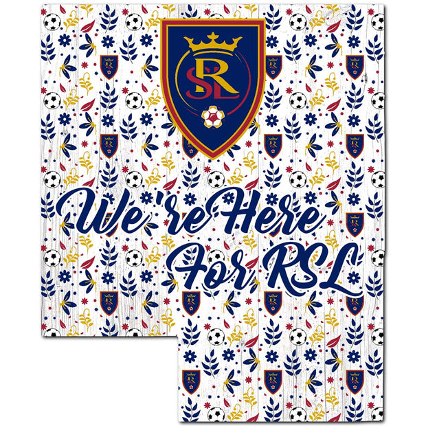 We're Here For RSL Cheer on a Floral State Sign - Team Sports Gift