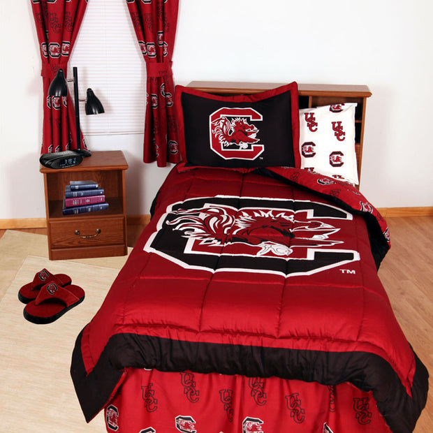 South Carolina Gamecocks Bed in a Bag w/ White Team Logo Sheets