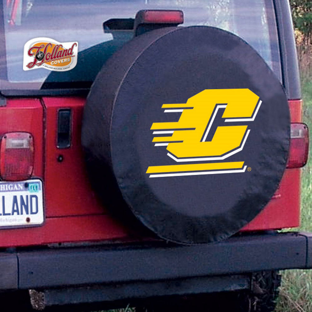 Central Michigan Chippewas Black Tire Cover with Optional Security Grommets