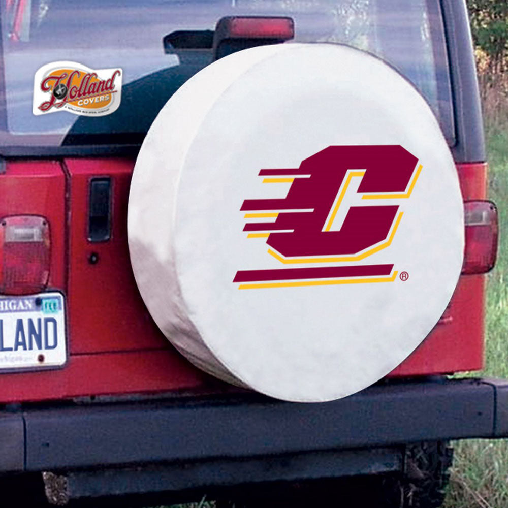 Central Michigan Chippewas White Tire Cover with Optional Security Grommets