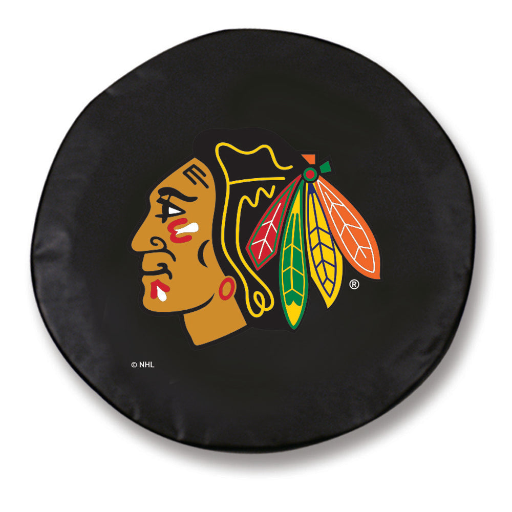 Chicago Blackhawks Black Tire Cover with Optional Security Grommets