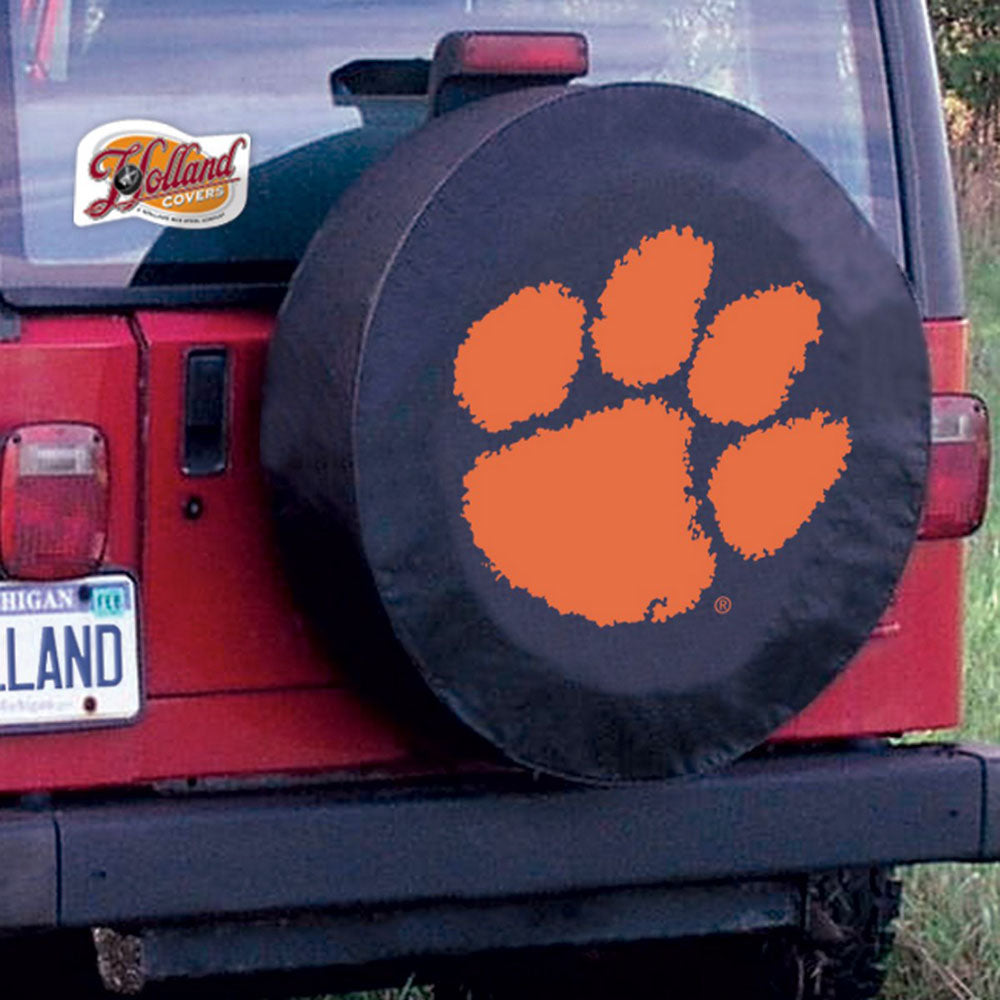 Clemson Tigers Black Tire Cover with Optional Security Grommets