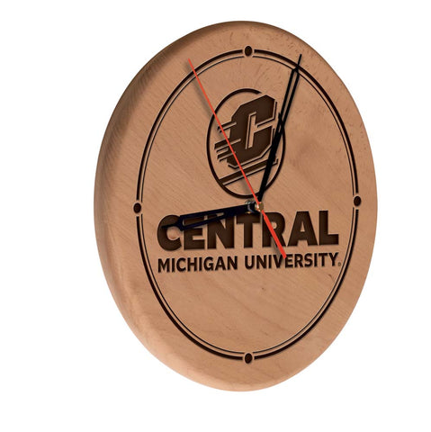Central Michigan Chippewas Laser Engraved Wood Wall Clock