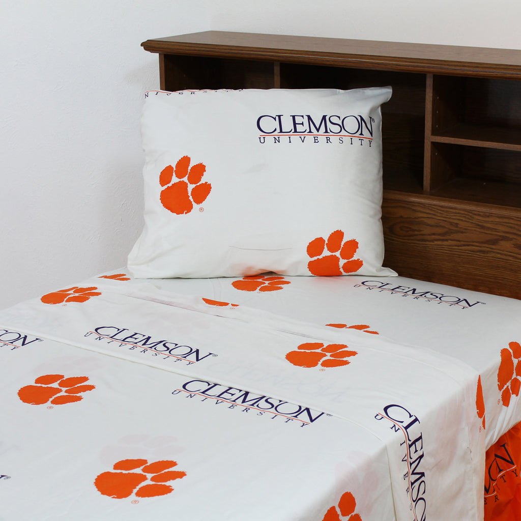 Clemson Tigers Team Spirit White Sheet Set