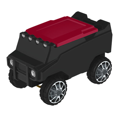Remote Control Cooler w/ Bluetooth Speakers in Black & Red