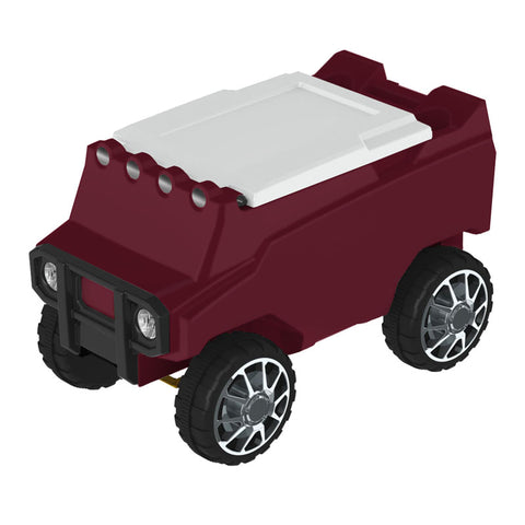 Remote Control Cooler w/ Bluetooth Speakers in Maroon & White
