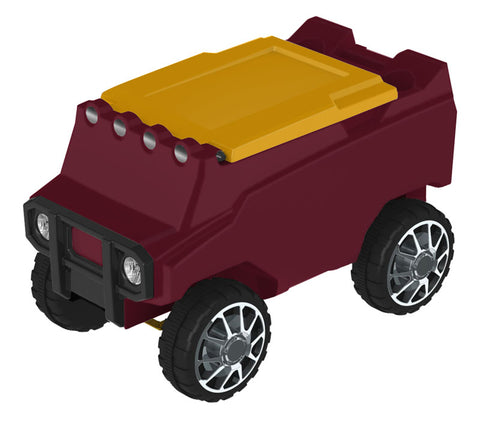 Remote Control Cooler w/ Bluetooth Speakers in Maroon & Yellow