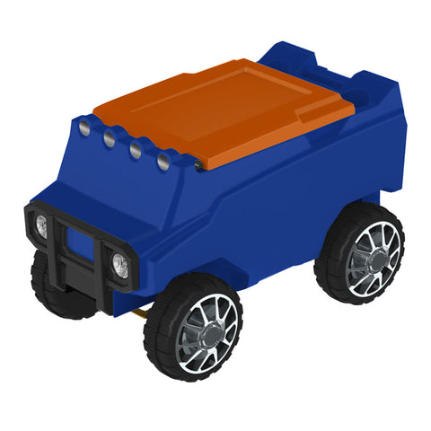 Remote Control Cooler with Bluetooth Blue Body & Orange Top