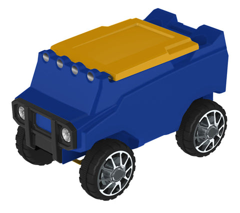 Remote Control Cooler with Bluetooth Blue Body & Yellow Top