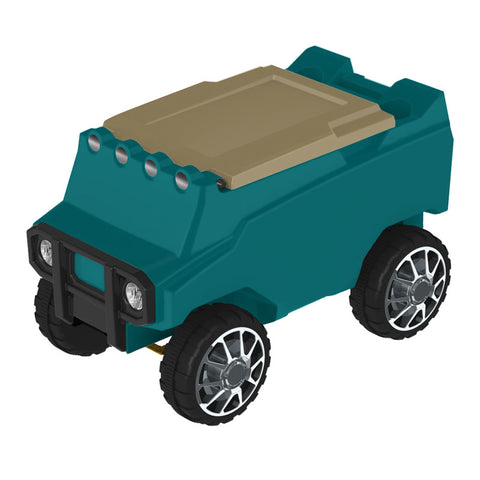 Remote Control Cooler with Bluetooth Teal Body & Tan Top