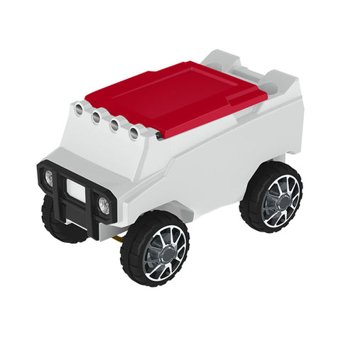 Remote Control Cooler w/ Bluetooth Speakers in White & Red