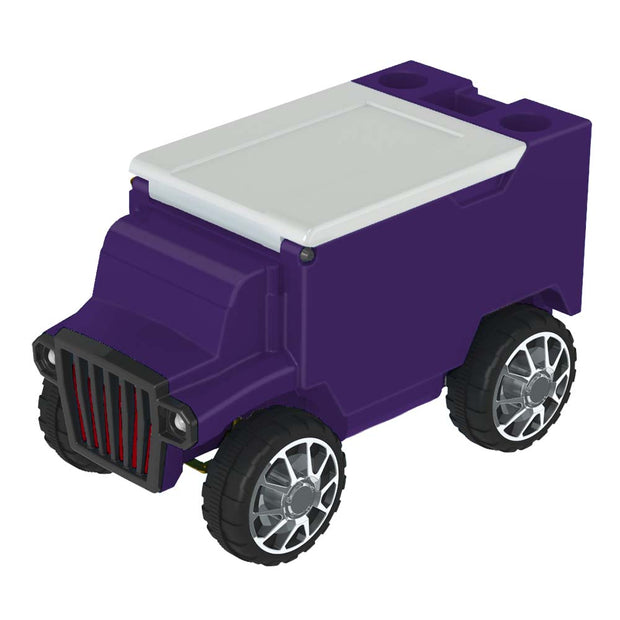 Remote Control Cooler with Bluetooth Purple Body & White Top