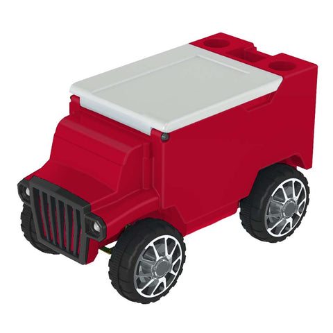 Red & White RC Truck Cooler w/ Bluetooth Speakers