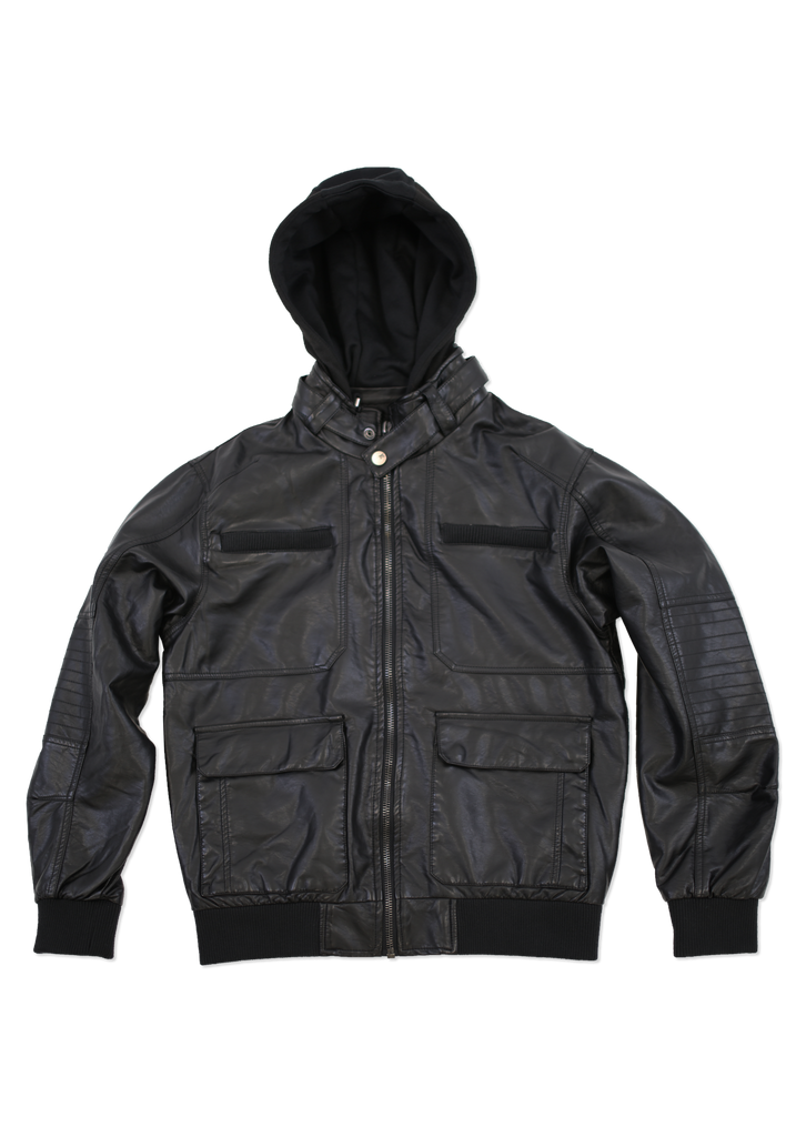 Mens Black Trendy Fashion Faux Leather Jacket with Hood