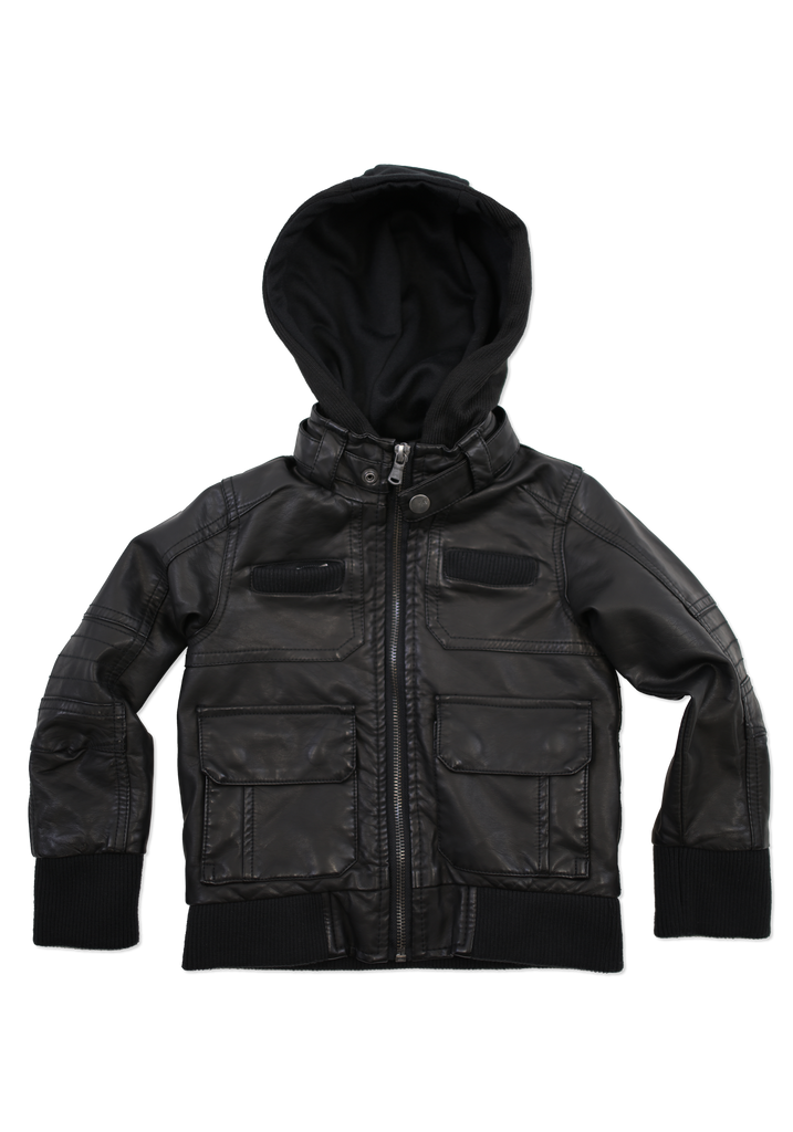 Boys Black Trendy Fashion Faux Leather Jacket with Hood