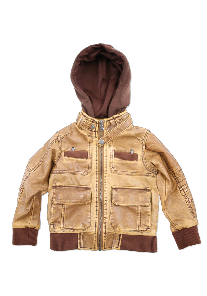 Toddler's Trendy Fashion Tan Faux Leather Jacket with Hood