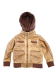 Boys Tan Trendy Fashion Faux Leather Jacket with Hood
