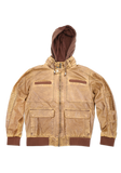 Mens Tan Trendy Fashion Faux Leather Jacket with Hood