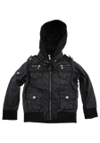 Boys Black Faux Leather Jacket with Hood