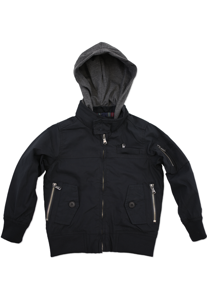 Kids Black Fashion Cotton Jacket with Hood